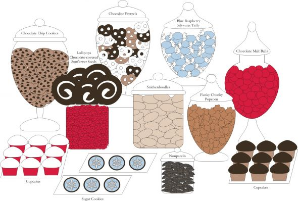 Dessert Buffet wedding candy buffet diy reception red blue brown chocolate