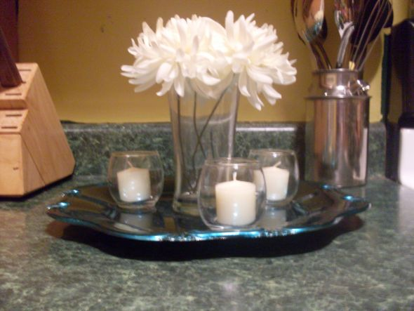 Centerpiece in the works wedding cheap centerpieces candles teal ivory