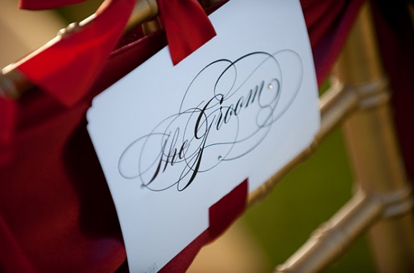 Bride and Groom chair signs : wedding chair sign burgues script Picture 11