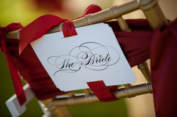 Bride and Groom chair signs : wedding chair sign burgues script Picture 12