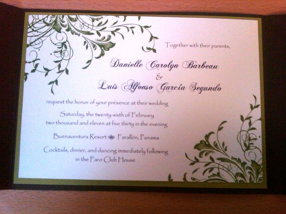 DIY wedding invitations paper green white brown Invitation Main