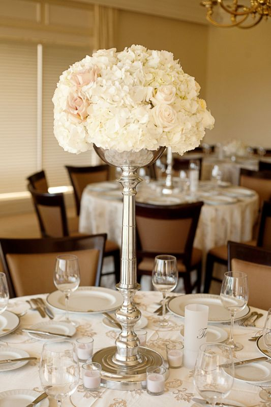 hydrangeas/rose tall centerpiece :  wedding tall centerpieces of hydrangeas and roses ivory flowers JorgeCrystal5006