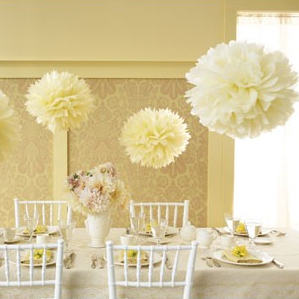 Help with DIYing tissue paper poms for a clueless crafter :  wedding Yellow Tissue Paper Pom Pom Kit1
