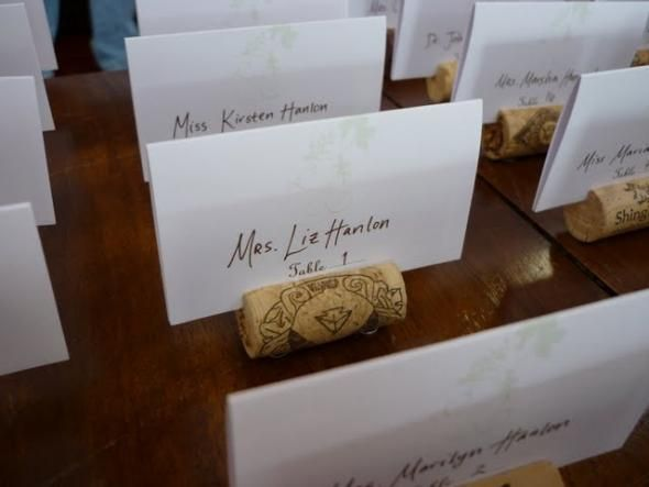 wine cork escort cards wedding wine corks diy Place Card Holder Cork2fold