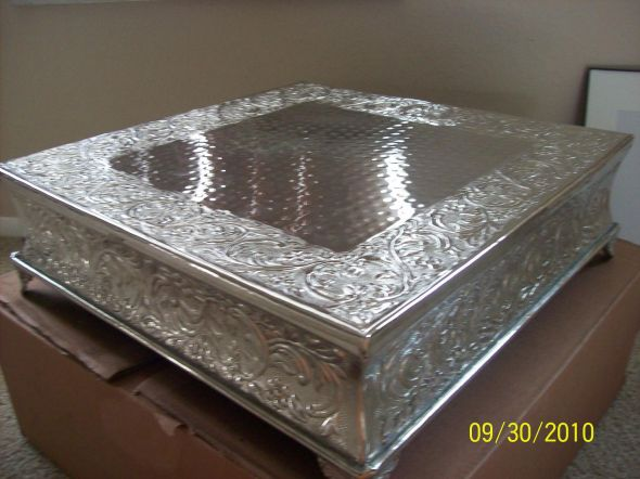 18X18 silver square cake plateau stand wedding silver cake Cake Stand