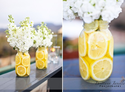 wedding yellow green decor Mason Jars Besides the centerpieces I am having