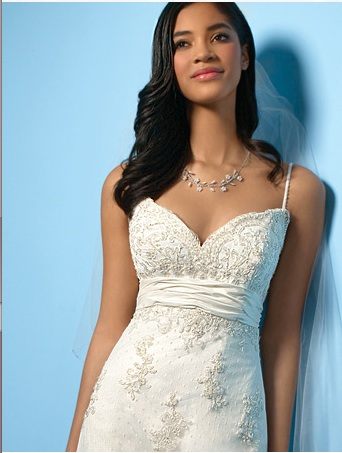 It 39s an ivory spaghetti strap sheath gown with lace adn beading and an