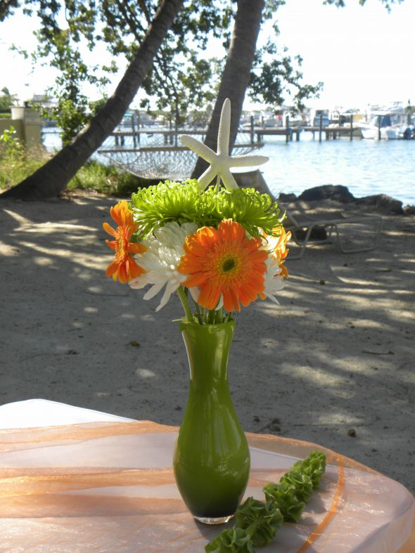 wedding seashells daisies centerpieces beach wedding reception Daisy2