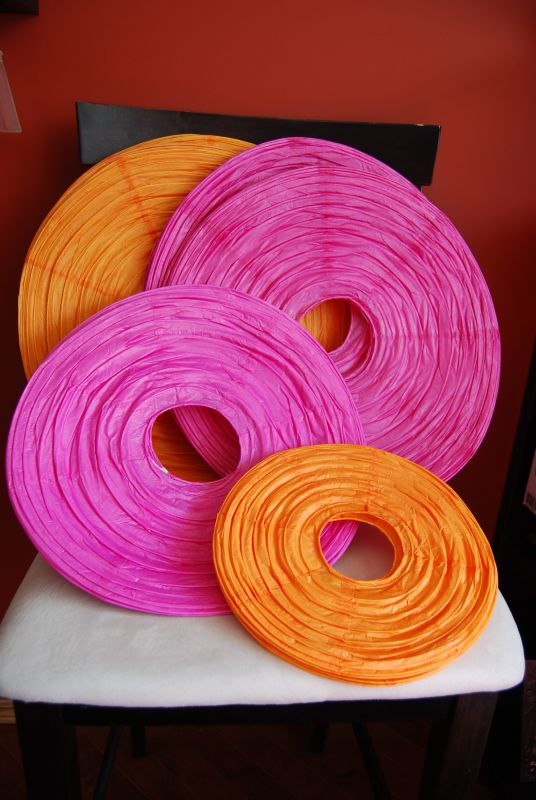 I am buying several hot pink and orange lanterns for my May 14th wedding and