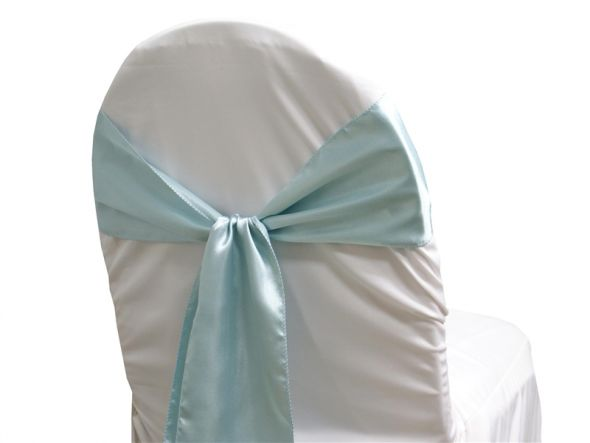 chair covers and baby blue sashes and runner wedding Light Blue Satin
