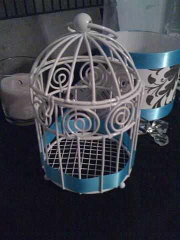 Turquoise Black White Items wedding seating board ribbon oard bird cage