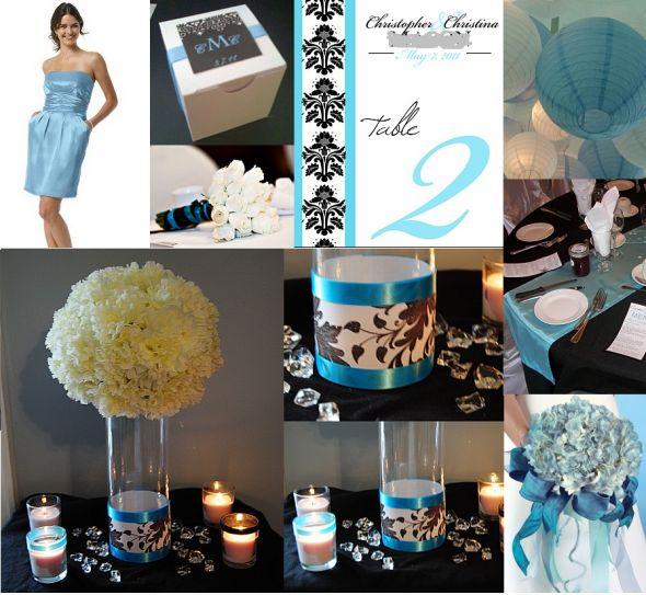 wedding colors aqua blue black white and touches of damask