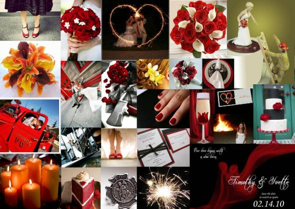 So far we are planning a black white and red wedding with a fire theme