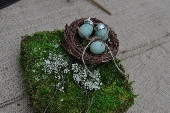 Bird nest pillow :  wedding bird nest pillow brown green ivory ceremony diy reception Pr
