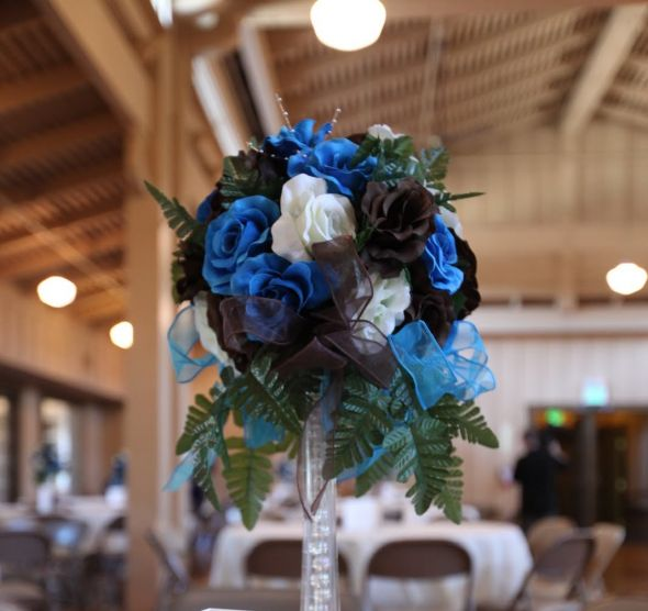 Brown Blue Ivory Rose Centerpieces wedding brown ivory turquoise