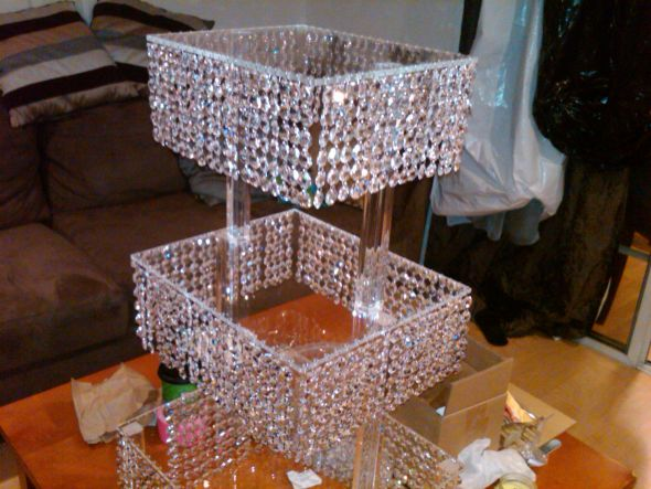 Custom Crystal Stand for your Wedding Cake Cupcakes Candy or Centerpieces