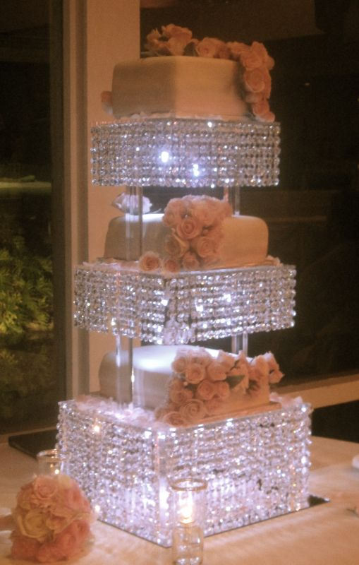 ~*CUSTOM CRYSTAL CAKE STAND*~ Chandelier style w/ Lots of hanging
