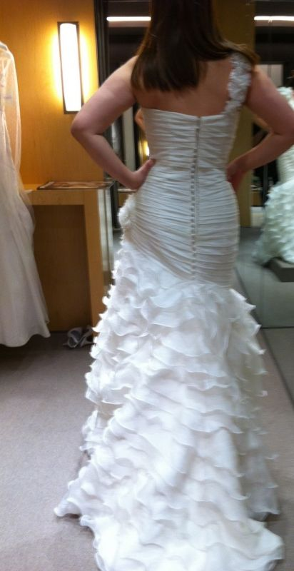 Pronovias Fauna or other ruffled dress Bustle help wedding bustle fauna