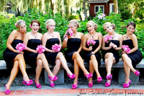 BrimerBride11 39s bridesmaids look sassy in magenta and black