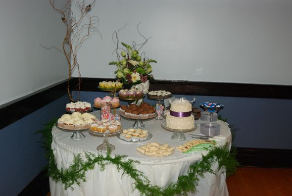 Cupcake Table Wedding Cupcakes Cake Cookies Dessert Candy Purple