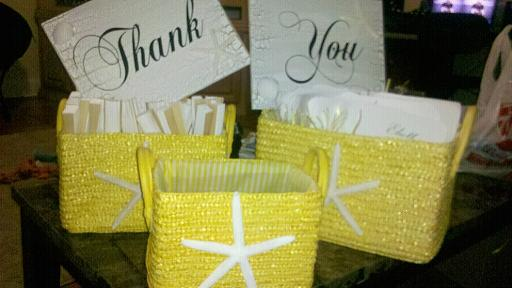 My DIY Thank You Signs and Program Baskets For our Beach Wedding