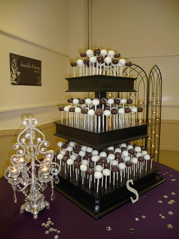 Our Wedding Cake Pop Stand :  wedding black cake purple 26