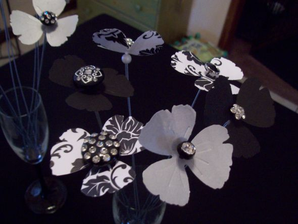 Rhinestone Button Paper Flower Centerpieces or Alternative Bouquet :  wedding black white silver bouquet flowers diy 319