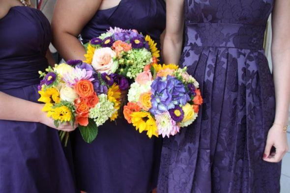 My bridesmaid 39s bouquets wedding bouquet bridesmaids garden purple