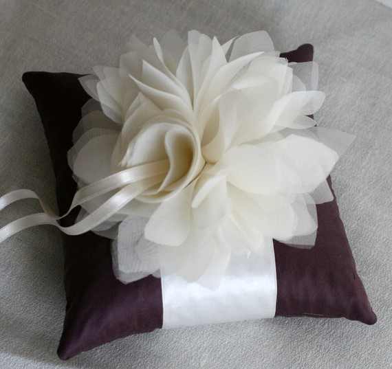 Plum and Ivory Ring Bearer Pillow wedding plum eggplant ring pillow ring