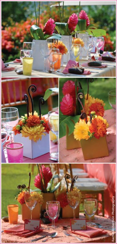 wedding centerpieces flower girl shower luncheon green orange pink white
