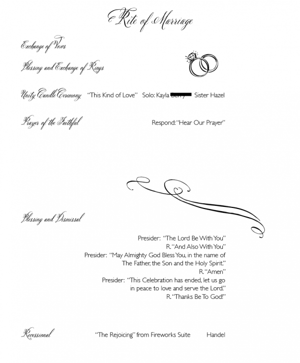 catholic wedding program layout