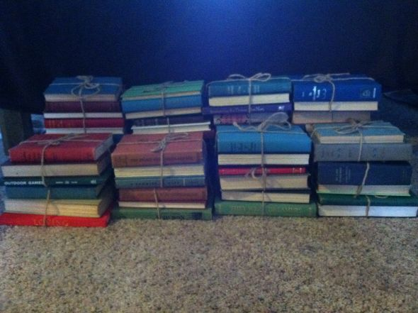 Vintage Books used as centerpieces wedding country wedding centerpieces