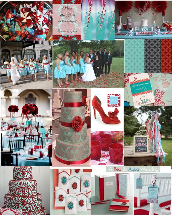 Turquoise and Red Wedding wedding colors themes turquoise red Red And Teal