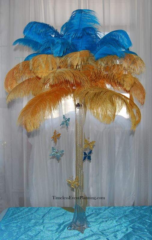 Feather Centerpieces AKA Feather Trees for Rent wedding feather