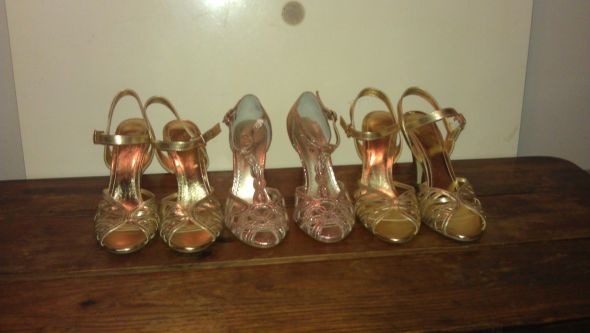 Bride's and bridesmaids' shoes :) :  wedding bridesmaids gold pink shoes 728