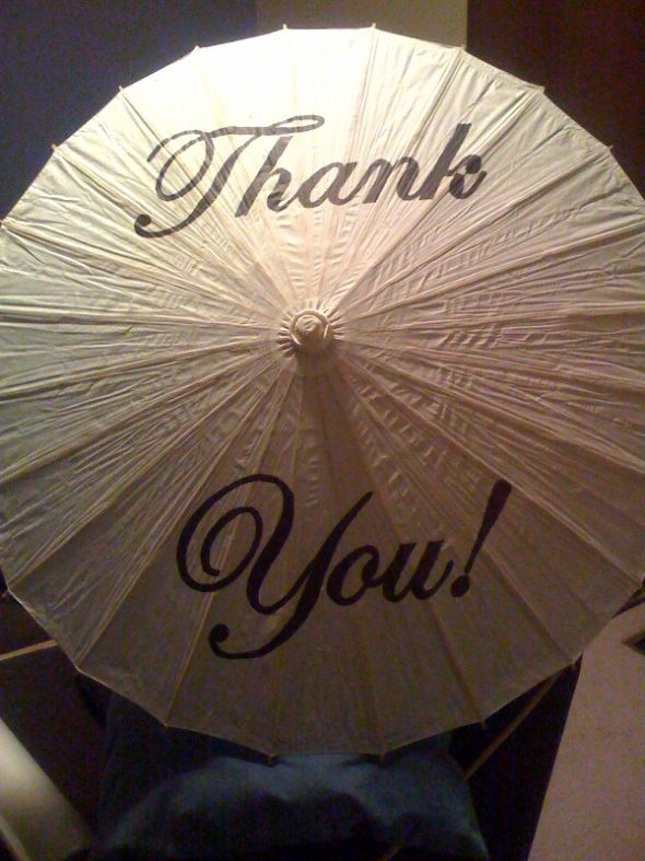 Custom painted thank you parasol pick your colors and font