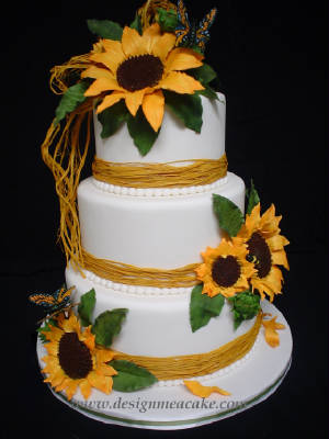 sunflower themed wedding cake or blue and yellow cake wedding