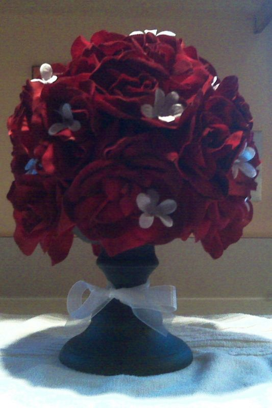 Red rose pomander centerpieces weddingbee photo gallery