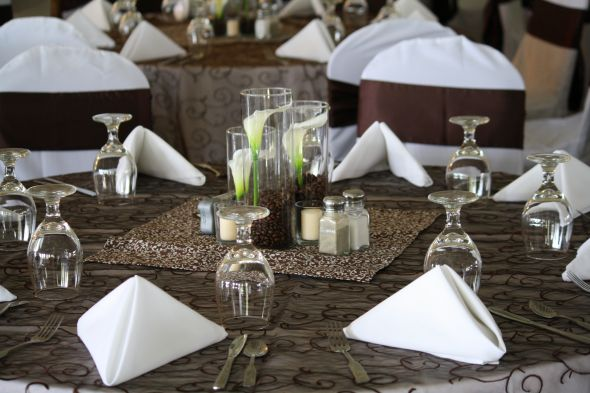 Overlay 39s wedding overlay brown diy reception Table Setting