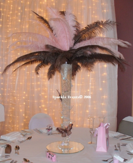 Ideas for nonfloral centerpieces wedding Feather Centerpiece 001