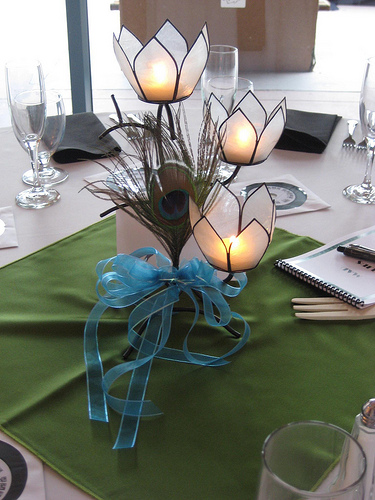 Ideas for nonfloral centerpieces wedding Feather Centerpiece 003