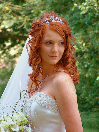 Wedding hairstyles with birdcage veil for medium or short hair length.