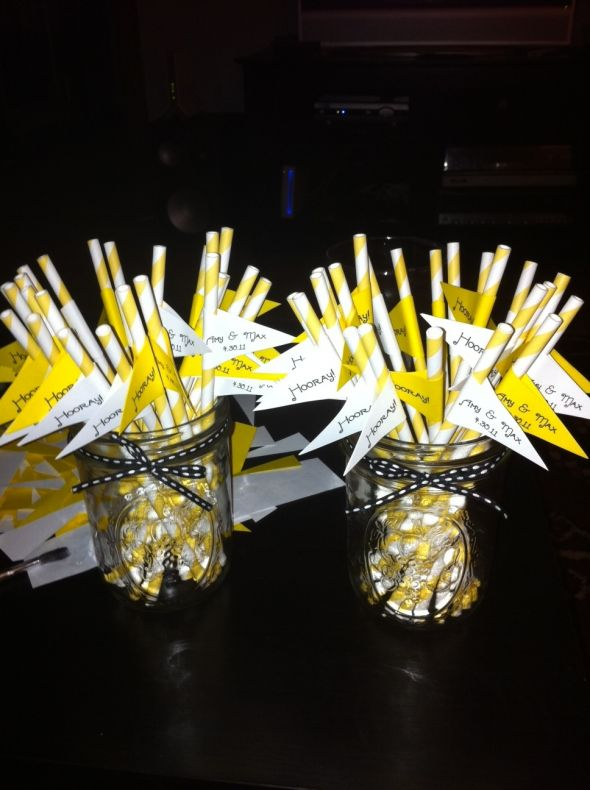 Flags for Barbershop Straws :  wedding flag straw drinks white yellow reception Flag Pic1