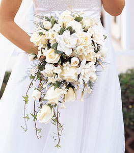 Cascade Bouquet for an A line Dress