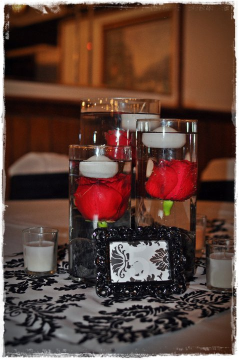 Red White And Black Wedding Centerpiece Ideas