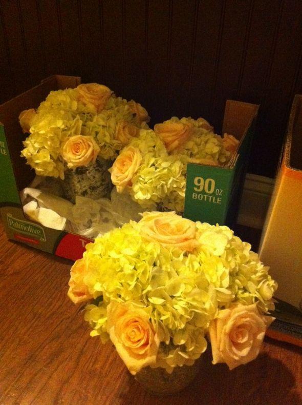 Costco roses and hydrangea centerpieces weddingbee photo