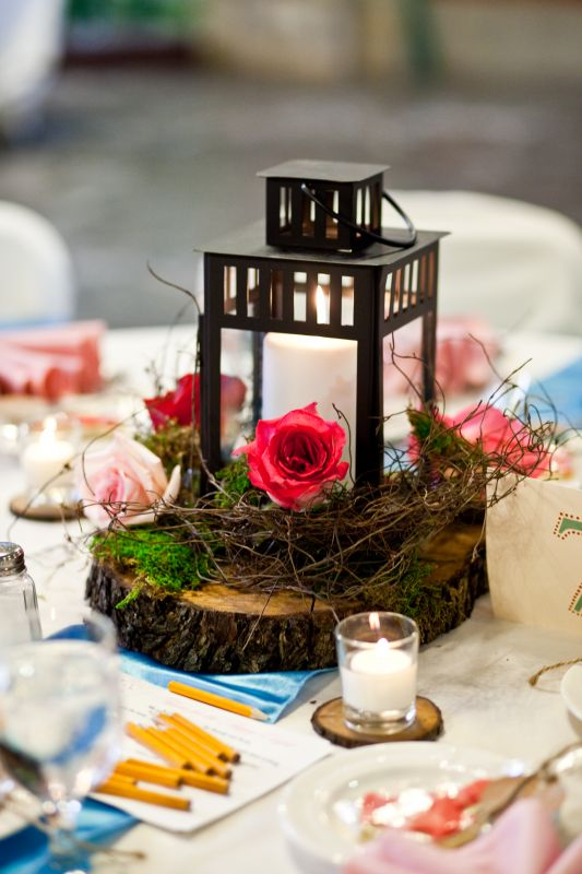 my wood slice lantern centerpieces wedding centerpiece lantern blue pink