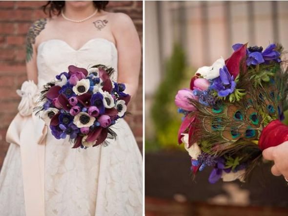bouquet suggestions for bridesmaid wedding Purple Teal Peacock Bouquet