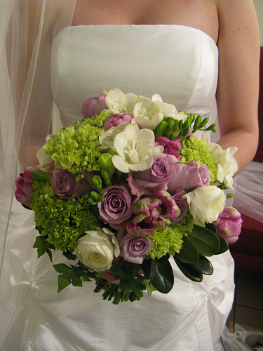 I like the idea of the Lavender bouquet for an outside wedding or country