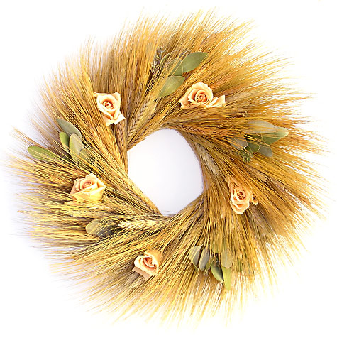 Rustic Charm Wheat Themed Wedding :  wedding inspiration Wreath G4 Wheat Lg